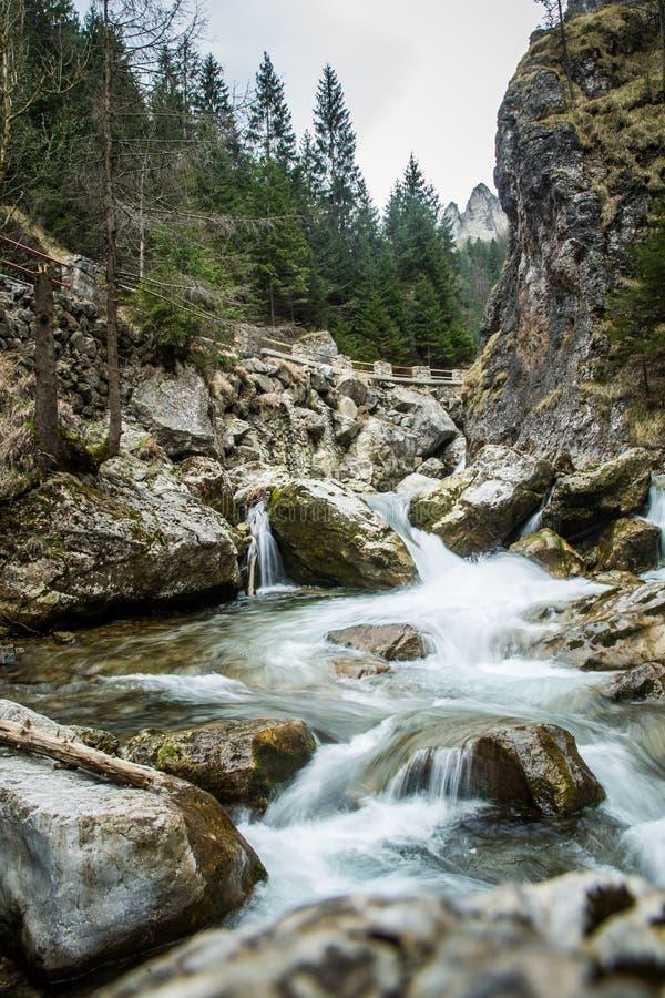 Uma paisagem longa bonita da exposição da cachoeira em montanhas de Tatra imagem de stock royalty free