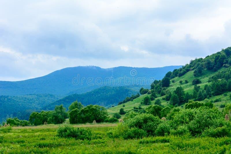 Uma paisagem maravilhosa da vila ucraniana nas montanhas Carpathian fotografia de stock royalty free