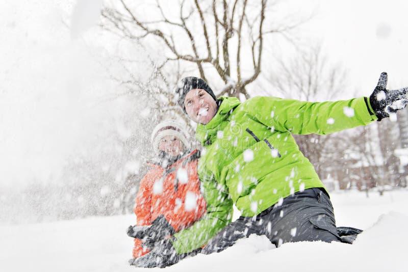 Uma paisagem nevado de And Son In do pai fotografia de stock