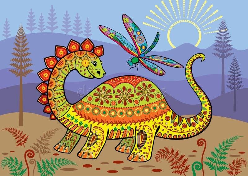 Uma paisagem pré-histórica com dinossauro e a libélula coloridos ilustração do vetor