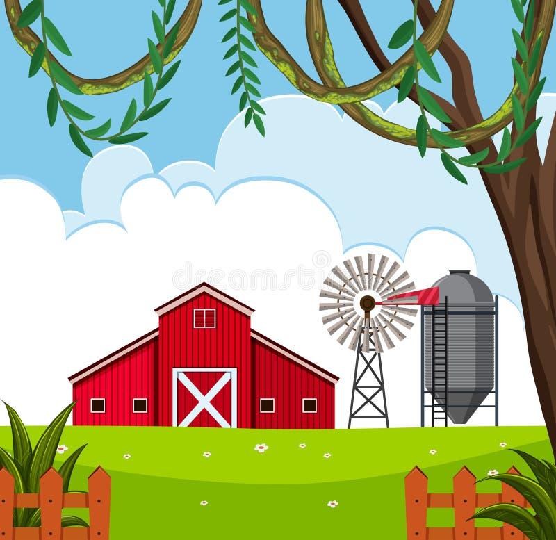 Uma paisagem rural da casa do celeiro ilustração royalty free