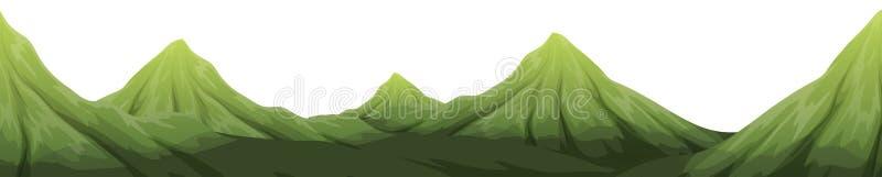Uma paisagem verde da montanha ilustração do vetor