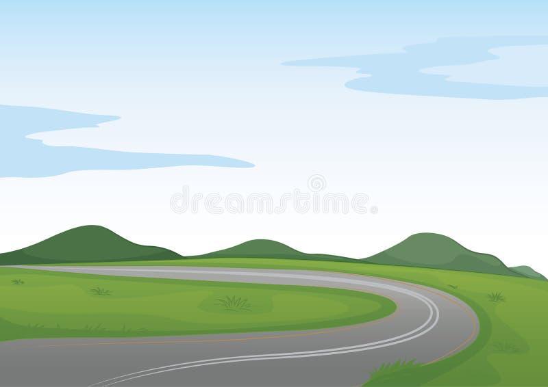 Uma paisagem verde e uma estrada ilustração royalty free