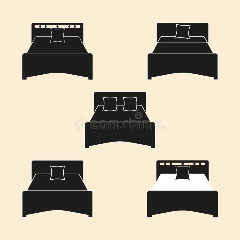 Uma parte de mobília para que o quarto use-se como um lugar para dormir Cama da silhueta Fundo isolado ilustração do vetor ilustração royalty free