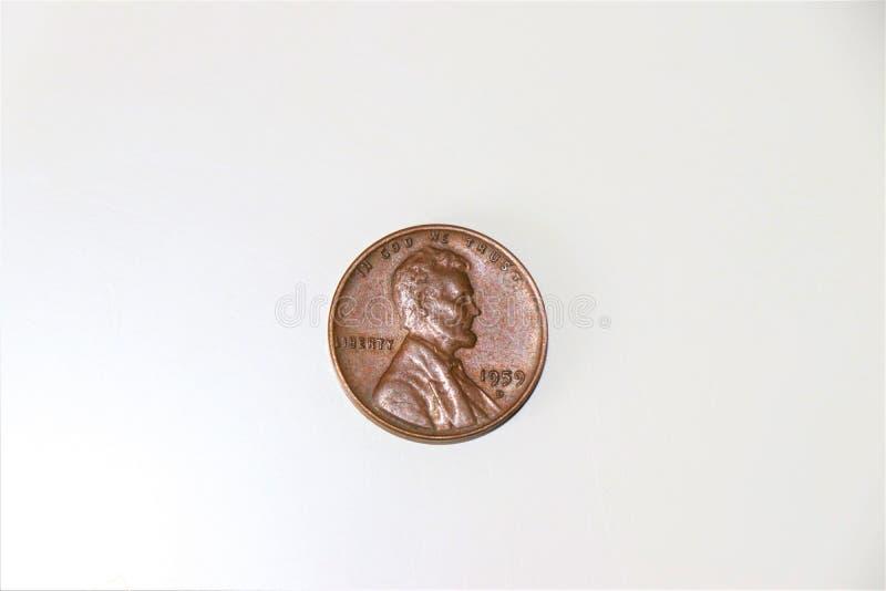 Uma parte de um Lincoln Cent, foto de stock