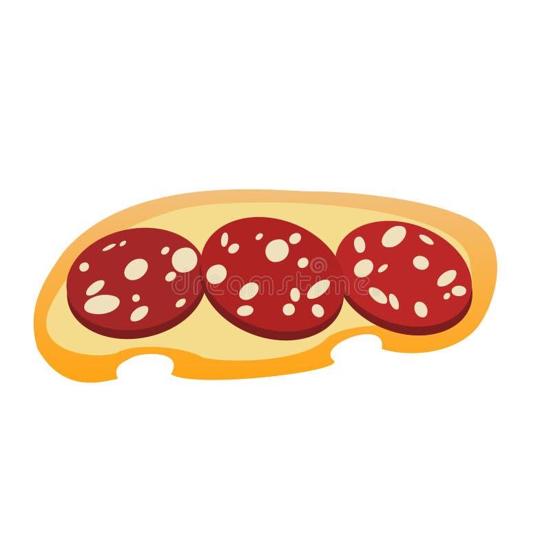 Uma parte do pão branco com três fatias de salsicha com bacon ilustração stock