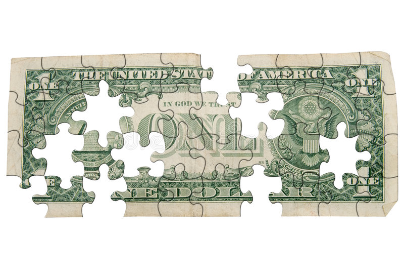 Uma parte traseira gasta da conta de dólar foto de stock