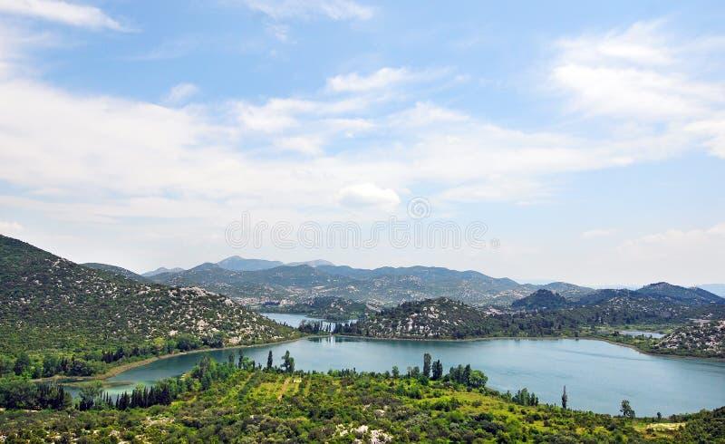 Uma península na costa da Croácia fotos de stock