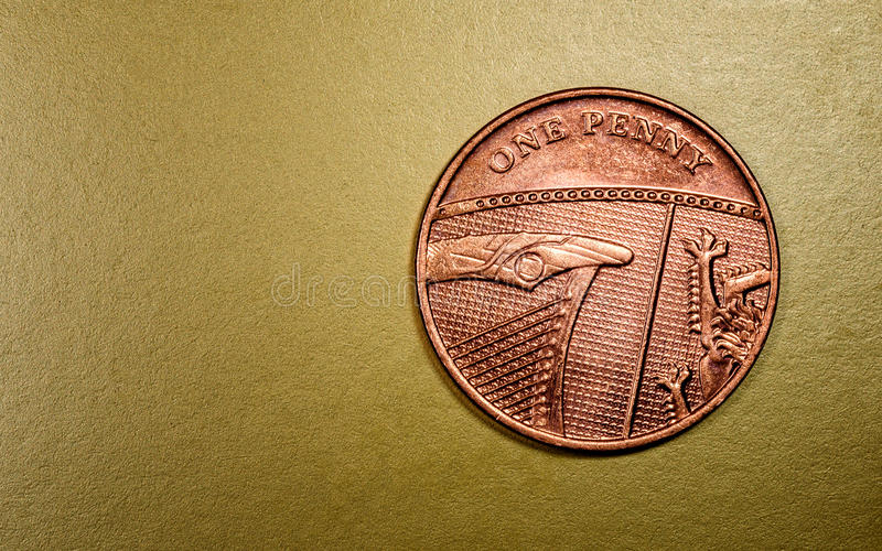 Uma Penny British Currency Sterling Coin imagens de stock royalty free