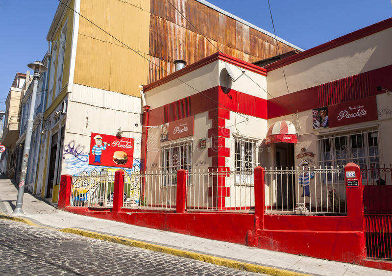 Uma pensão em Valparaiso, pimentão foto de stock
