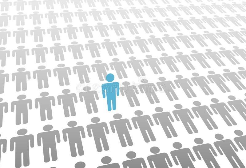 Uma pessoa de pé no mundo de coloc povos ilustração do vetor