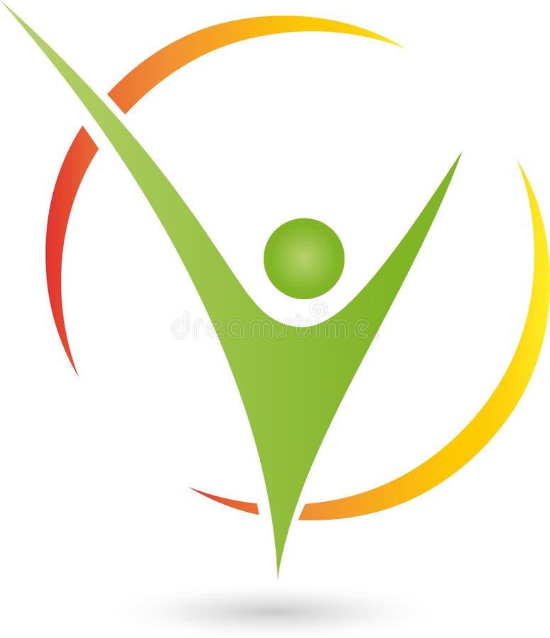 Uma pessoa no logotipo do movimento, do esporte e da aptidão ilustração do vetor