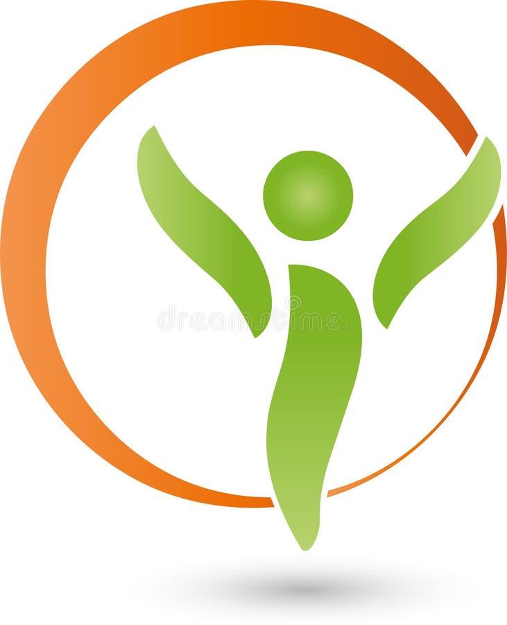 Uma pessoa no logotipo do movimento, do esporte e da aptidão ilustração stock