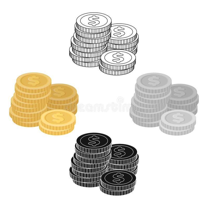 Uma pilha das moedas para contar em um casino gambling Único ícone de Kasino na ilustração do estoque do símbolo do vetor do esti ilustração royalty free