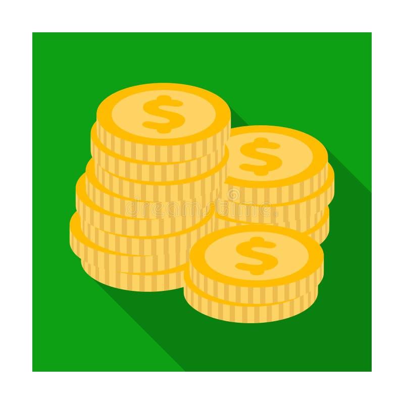 Uma pilha das moedas para contar em um casino gambling Único ícone de Kasino na ilustração lisa do estoque do símbolo do vetor do ilustração do vetor