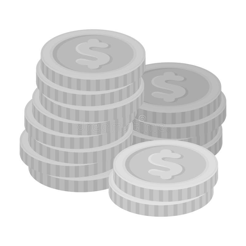 Uma pilha das moedas para contar em um casino gambling Único ícone de Kasino no estoque monocromático do símbolo do vetor do esti ilustração do vetor