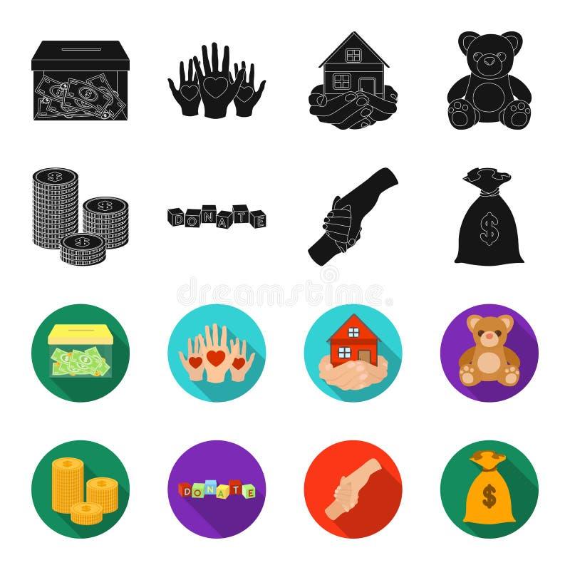 Uma pilha das moedas para doações, cubos coloridos com uma inscrição, um aperto de mão, um saco do dinheiro para doações Caridade ilustração stock