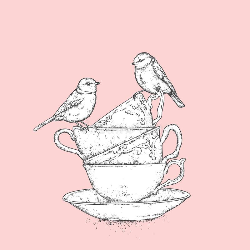 Uma pilha de copos do vintage e de pássaros macios Vector a ilustração para um cartão ou um cartaz ilustração stock