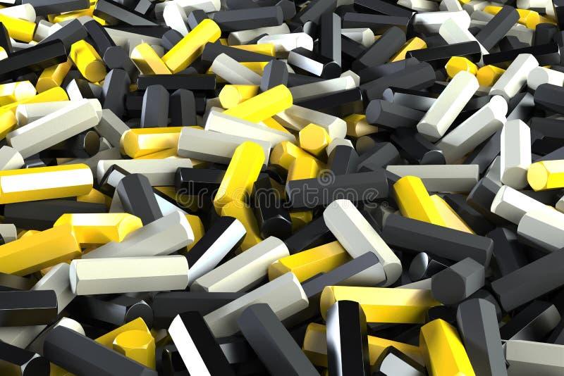 Uma pilha de detalhes pretos, brancos e amarelos do hexágono ilustração stock