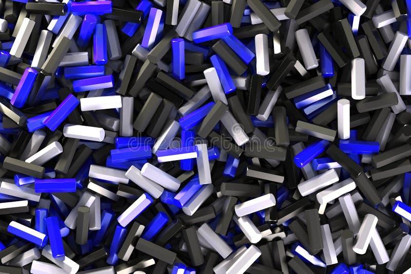 Uma pilha de detalhes pretos, brancos e azuis do hexágono ilustração do vetor