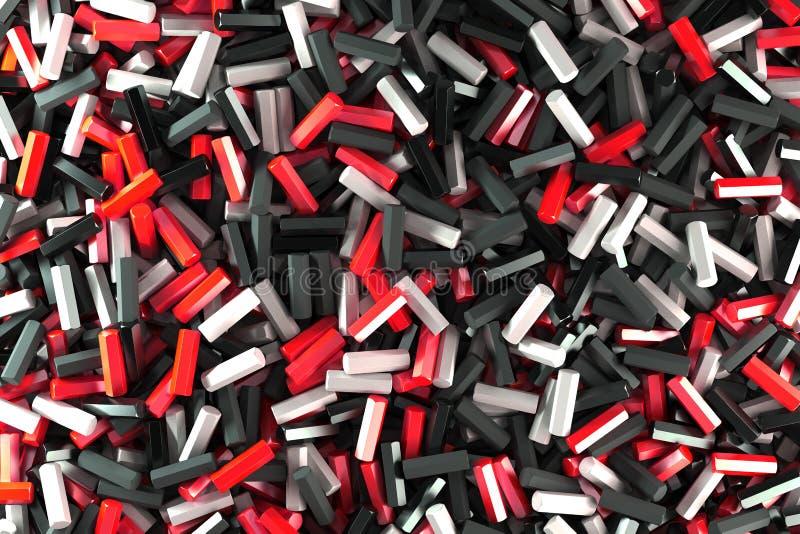 Uma pilha de detalhes pretos, brancos e vermelhos do hexágono ilustração stock
