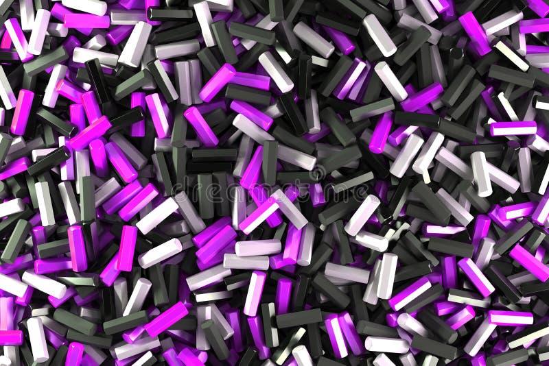 Uma pilha de detalhes pretos, brancos e violetas do hexágono ilustração stock