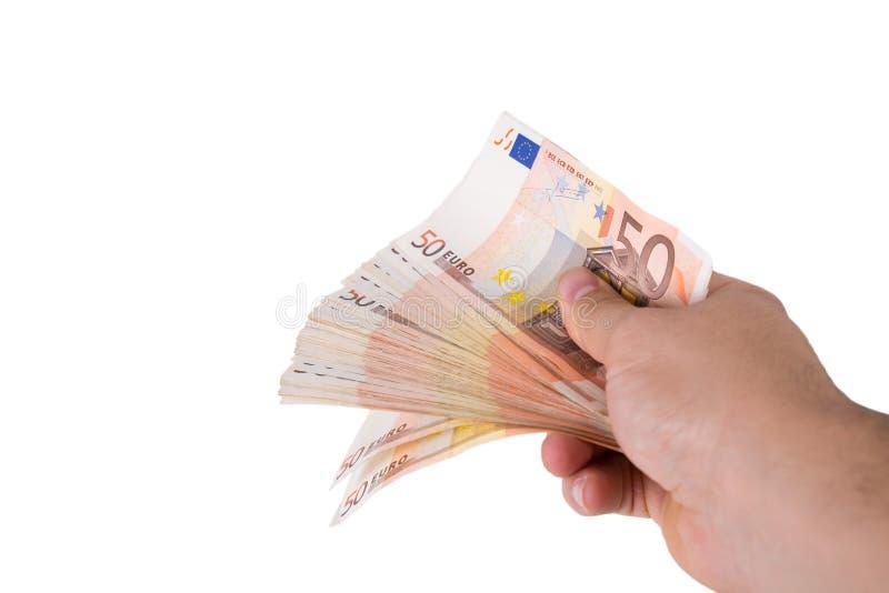 Uma pilha de 50 euro- contas fotos de stock