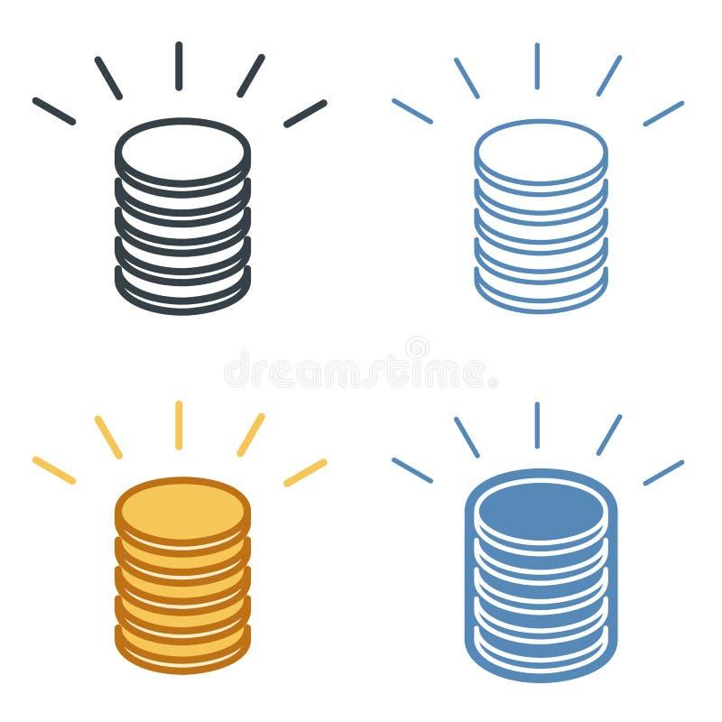 Uma pilha de grupo do ícone do esboço do vetor das moedas ilustração stock