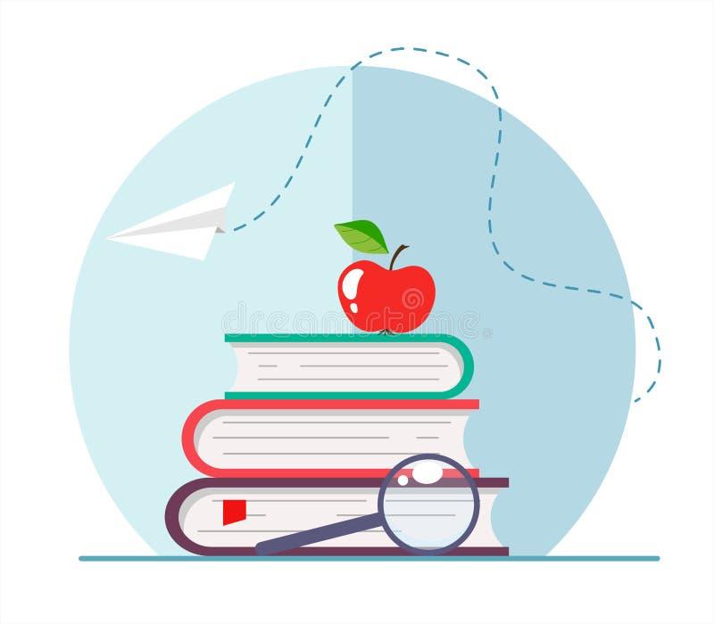 Uma pilha de livros com uma maçã e uma lupa, um avião de papel Conceito educacional para a escola e a Web Illustrati do vetor ilustração royalty free