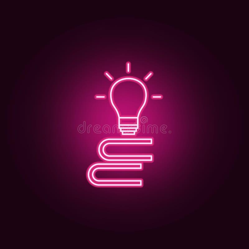 uma pilha de livros e de um ícone da ampola Elementos dos livros e dos compartimentos nos ícones de néon do estilo Ícone simples  ilustração stock