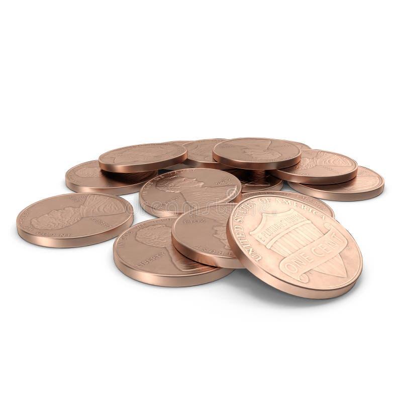 Uma pilha de moedas de 1 moeda de um centavo do centavo de E.U. isoladas no branco 3D ilustração, trajeto de grampeamento ilustração do vetor