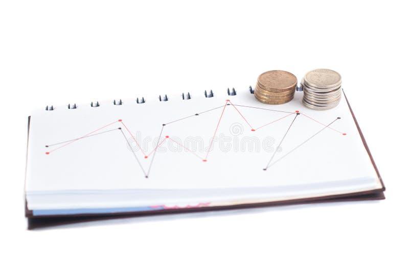 Uma pilha de moedas, a programação no caderno, t imagem de stock royalty free