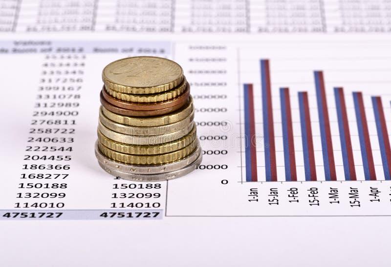 Uma pilha de moedas sobre um relatório financeiro imagens de stock royalty free