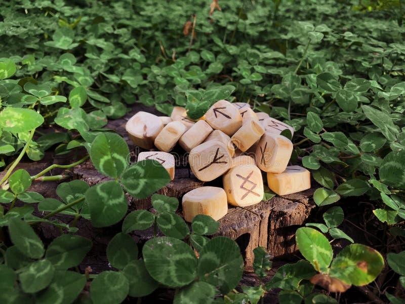 Uma pilha de runas de madeira em runas de madeira da floresta encontra-se em um fundo da rocha na grama verde As runas são cortad imagem de stock