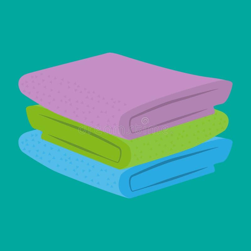 Uma pilha de toalhas limpas e macias dobradas do algodão Ilustração do vetor ilustração stock