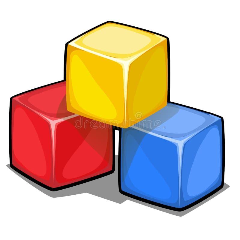 Uma pilha de três cubos coloridos plástico isolados no fundo branco Ilustração do close-up dos desenhos animados do vetor ilustração stock