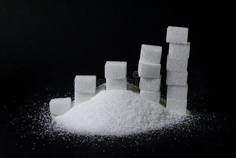 Uma pilha do açúcar e de uma carta feita do açúcar considera/remenda fotos de stock royalty free