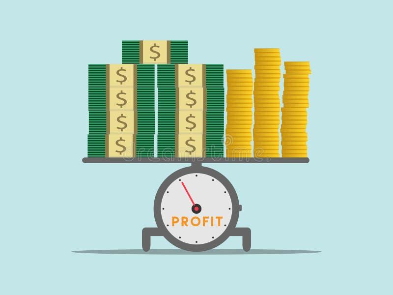 Uma pilha do dinheiro do lucro nas escalas com fundo azul ilustração stock