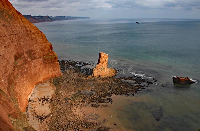 Uma pilha do mar do arenito na baía perto de Sidmouth, Devon de Ladram Peça do trajeto litoral ocidental sul fotografia de stock royalty free