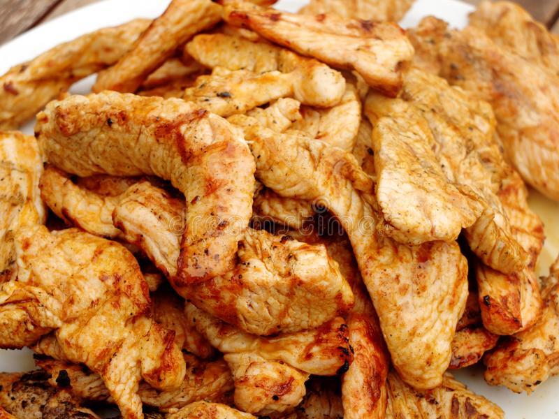 Uma pilha do peru grelhado das fatias da carne de aves domésticas fotos de stock