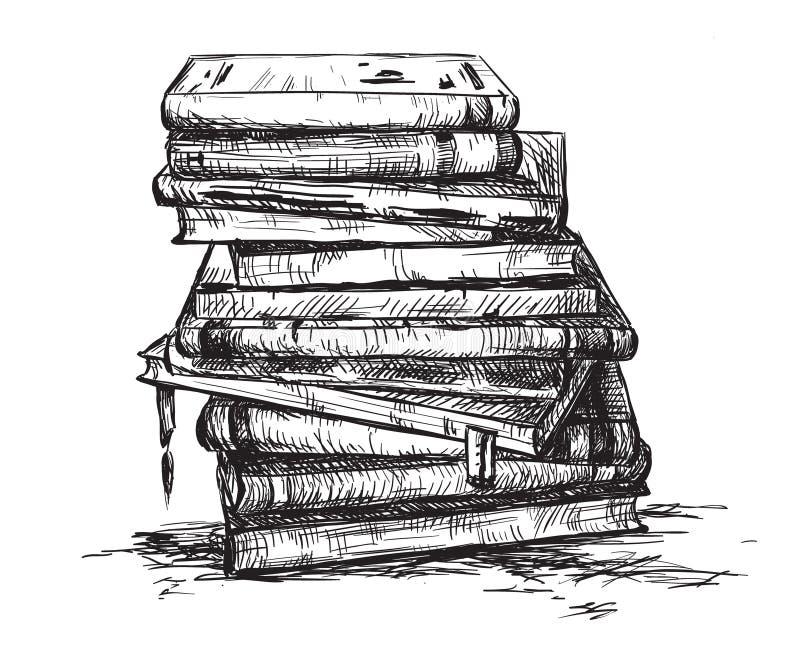 Uma pilha dos livros ilustração stock