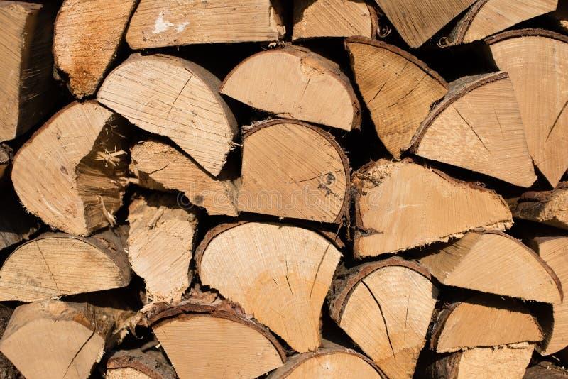 Uma pilha dos logs prontos da folhosa empilhados acima e apronta-se para w foto de stock royalty free