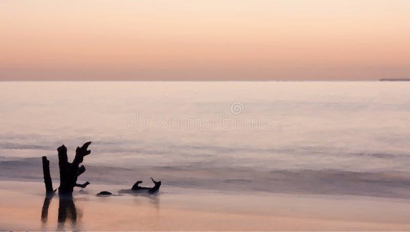 Uma pintura como o filtro sobre uma foto de uma parte de madeira lançada à costa durante um por do sol ilustração do vetor