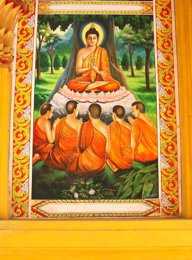 Uma pintura da Buda em um templo em Laos fotos de stock royalty free