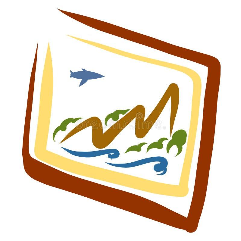 Uma pintura das montanhas e de um plano de voo ilustração do vetor