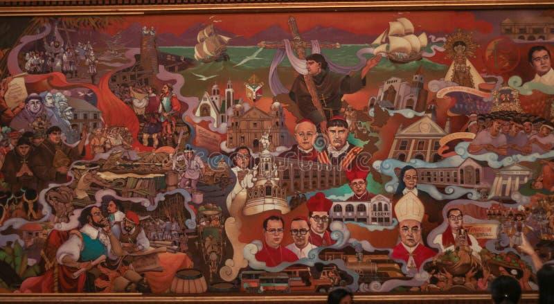 Uma pintura enorme sobre a história da região do bicol nas Filipinas foto de stock royalty free