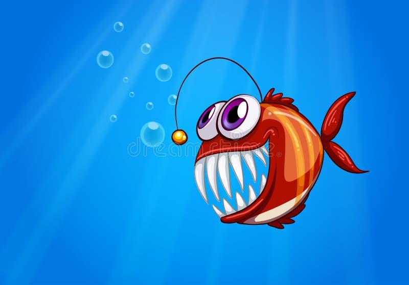 Uma piranha assustador sob o mar ilustração royalty free
