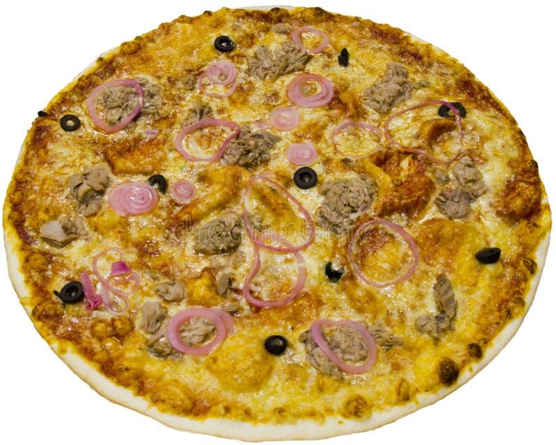 Uma pizza feita home deliciosa em um fundo branco Alimento saboroso foto de stock royalty free