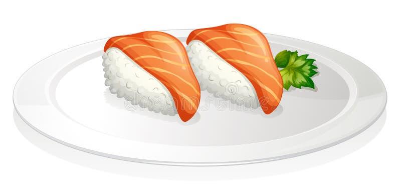 Uma placa com dois grupos de sushi ilustração stock