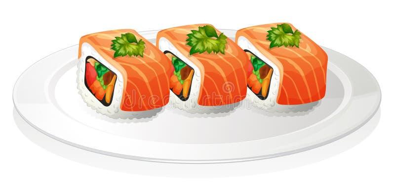 Uma placa com sushi ilustração stock